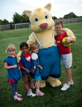 Children with our leisure mascot