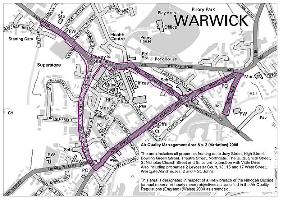 Air quality map of Warwick