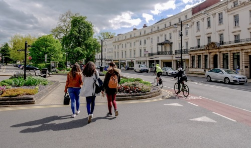 People walking and cycling in Leamington Spa