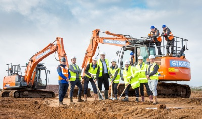 Councillors, officers and contractors at Europa Way development