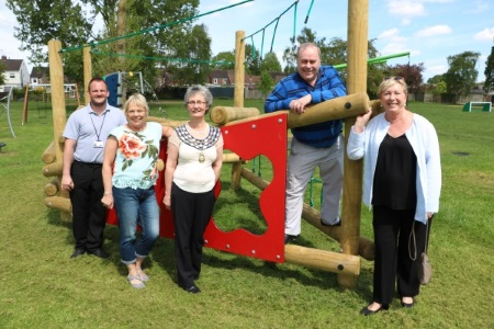 Councillors with new play equipment