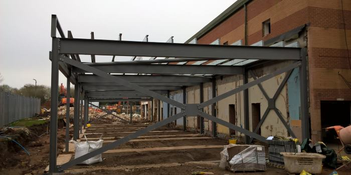 Newbold building works - steel beams