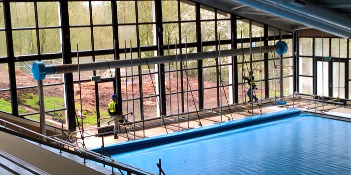 Newbold building works - interior pool area