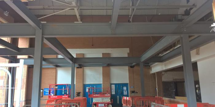 Internal building work at Newbold Comyn