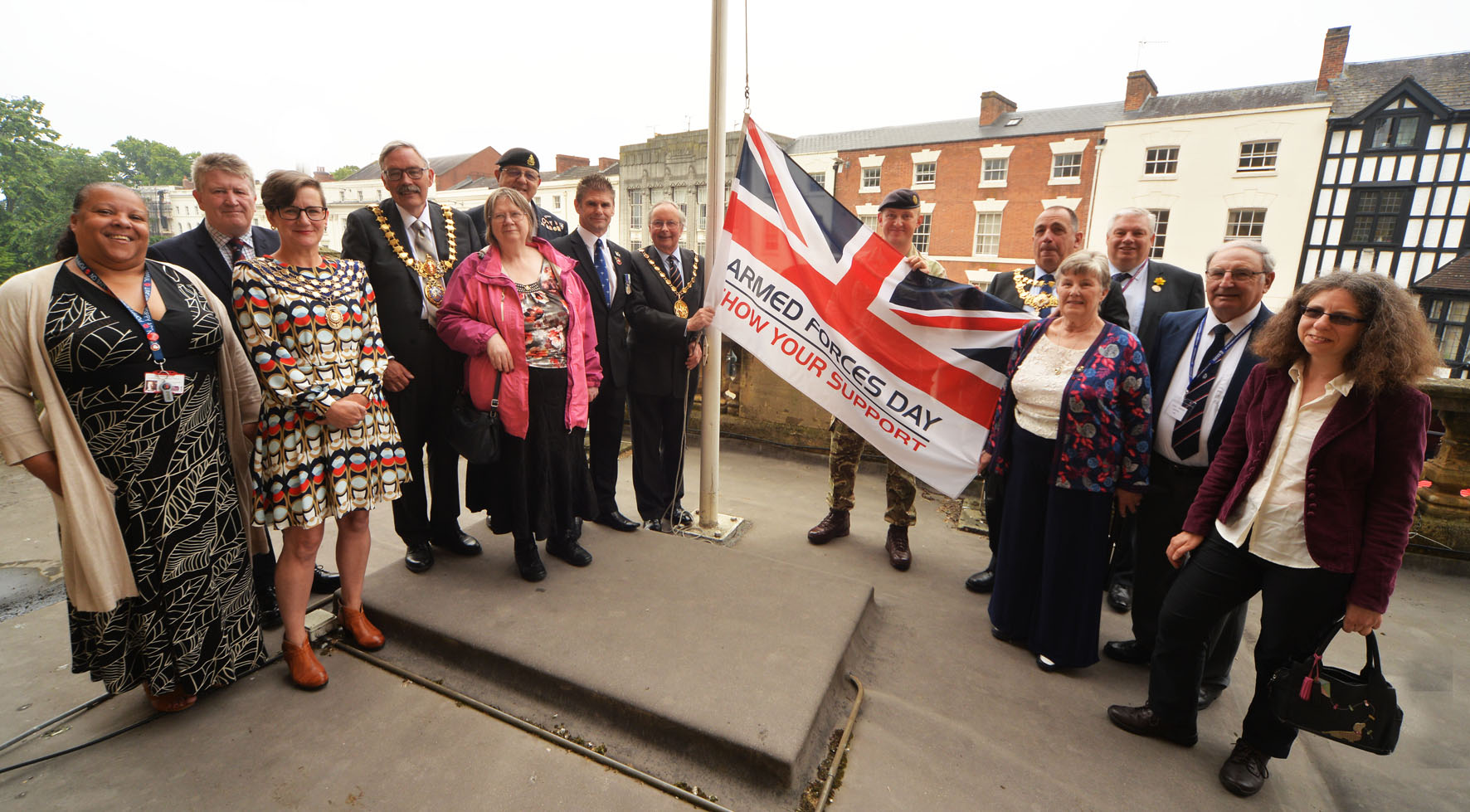 Armed forces flag raising