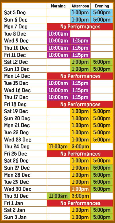 Aladdin Schedule 2020/21